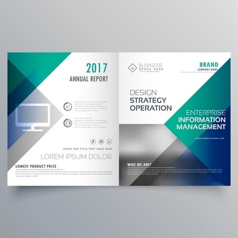 professional blue bi fold brochure template design vector download
