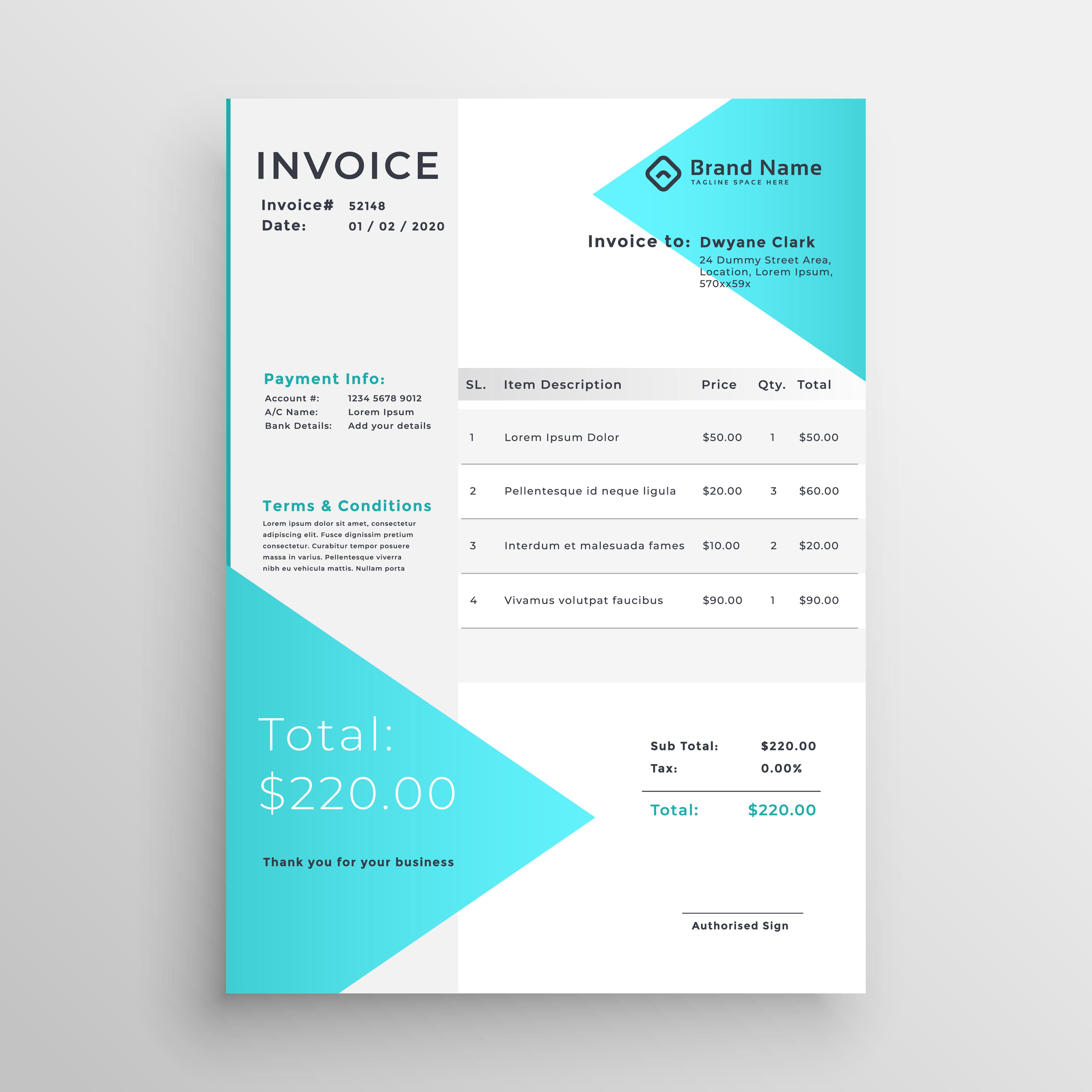 creative light blue invoice template design