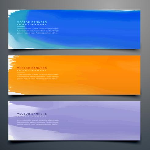 abstract watercolor banner set in different colors