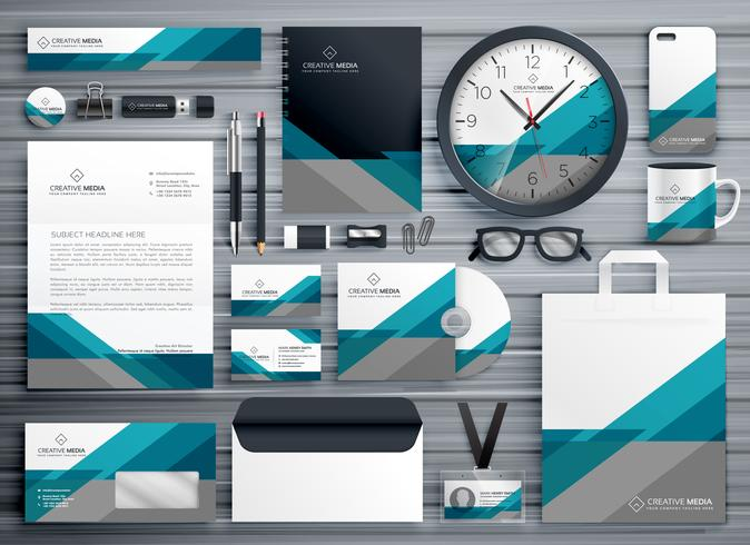 professional business stationery design made with geometric shap