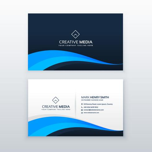 elegant blue wave business card design template