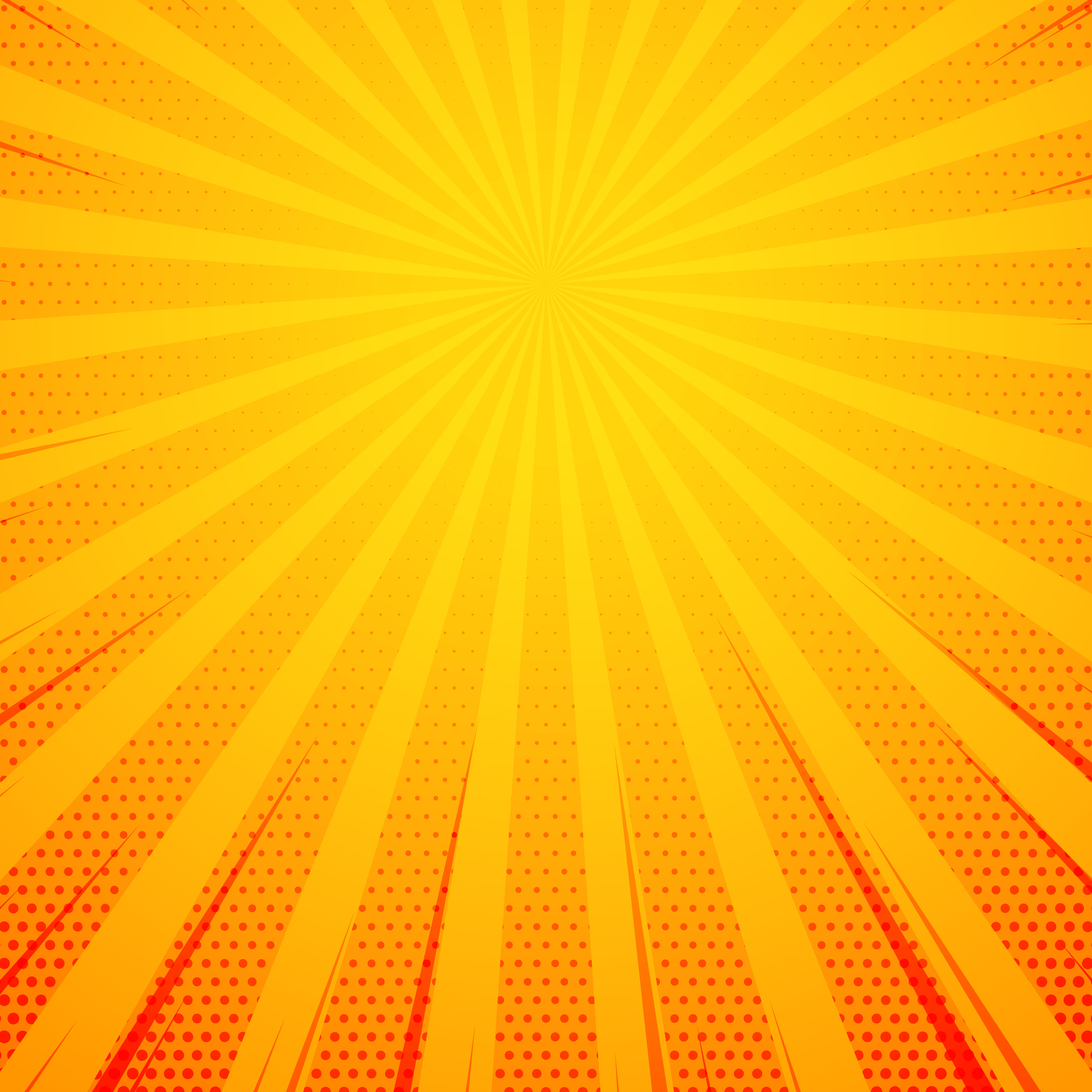 yellow pop art comic book style background with rays