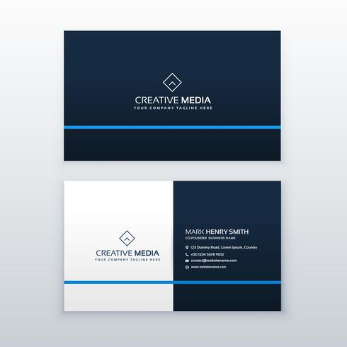 simple blue business card vector design template