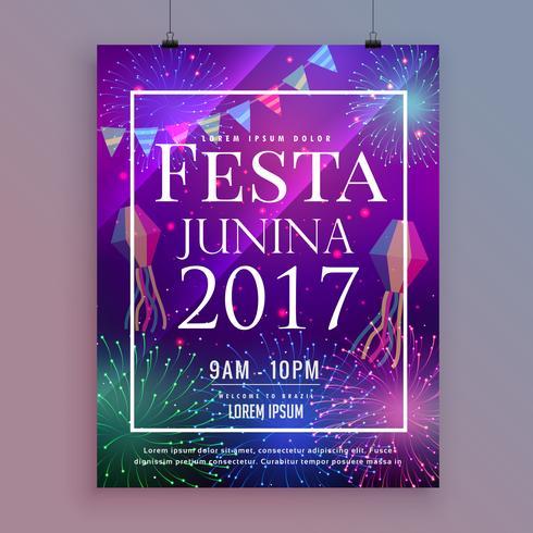 festa junina party celebration flyer design with fireworks