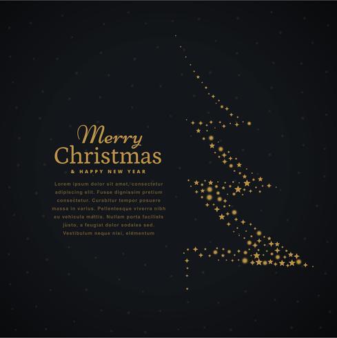kreativ julgransdesign gjord med stjärnor i svart backgrou
