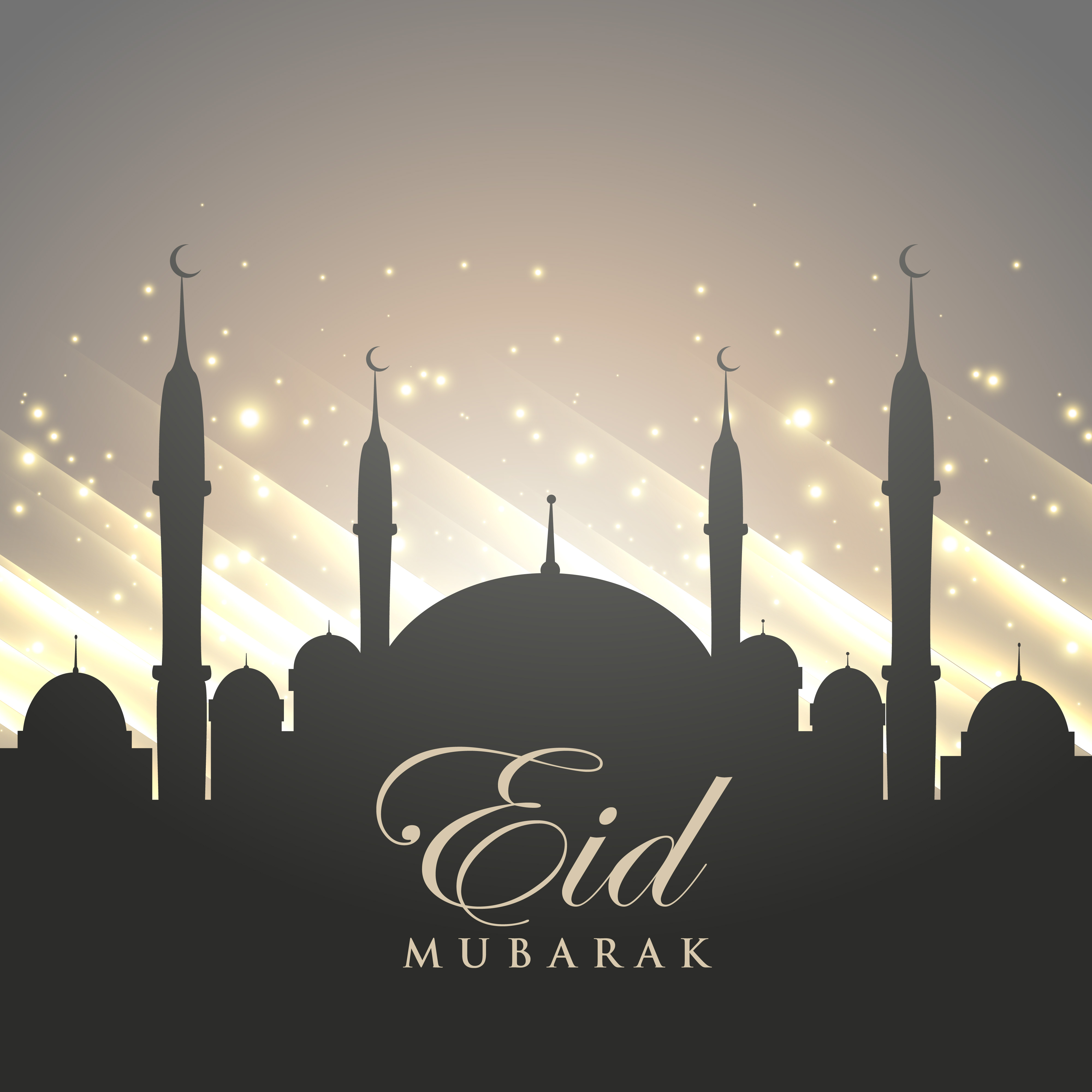Islamic Eid Festival Greeting With Mosque Silhouette And