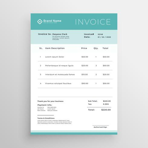 minimal invoice template vector design