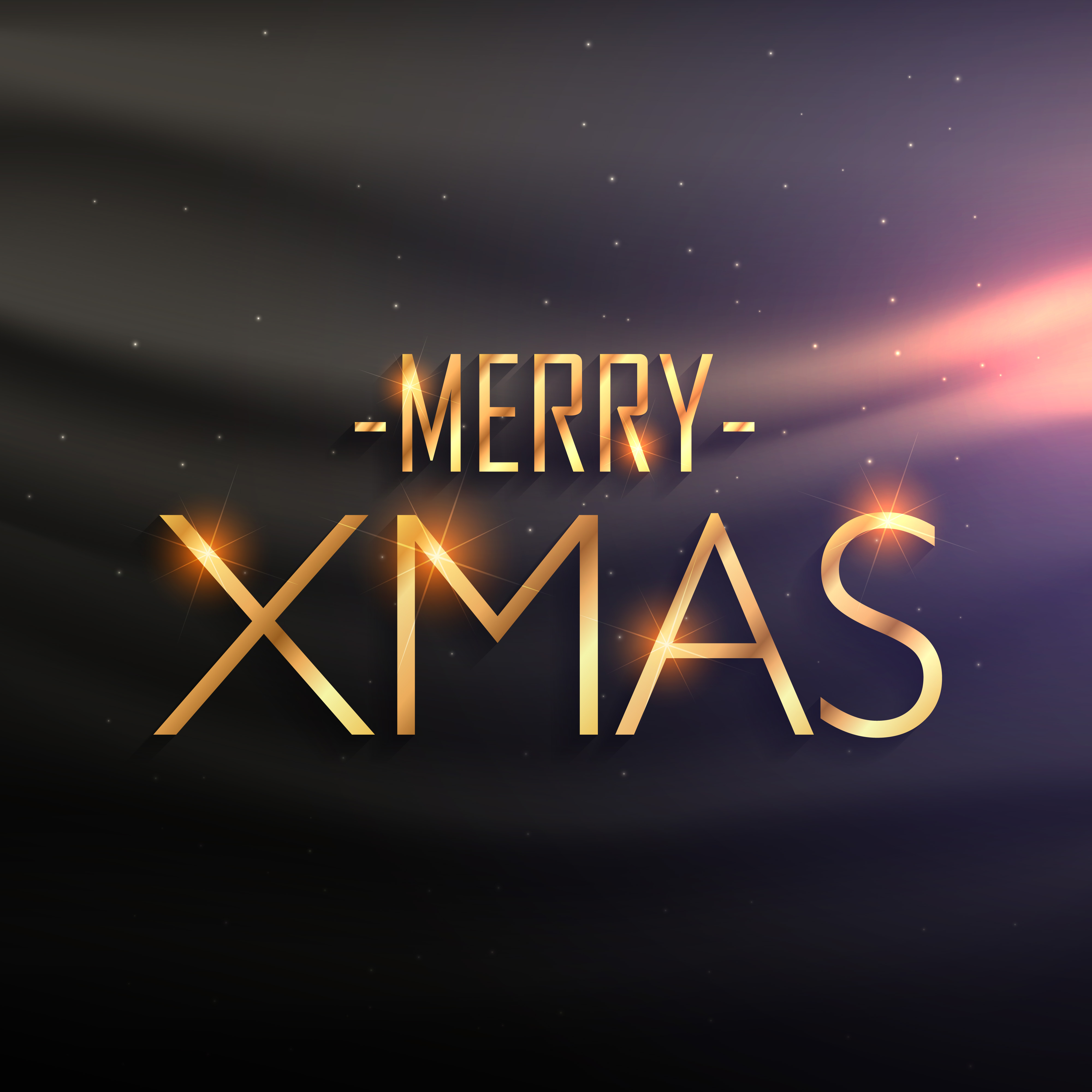 Golden Merry Xmas Lettering On Black Silk Background