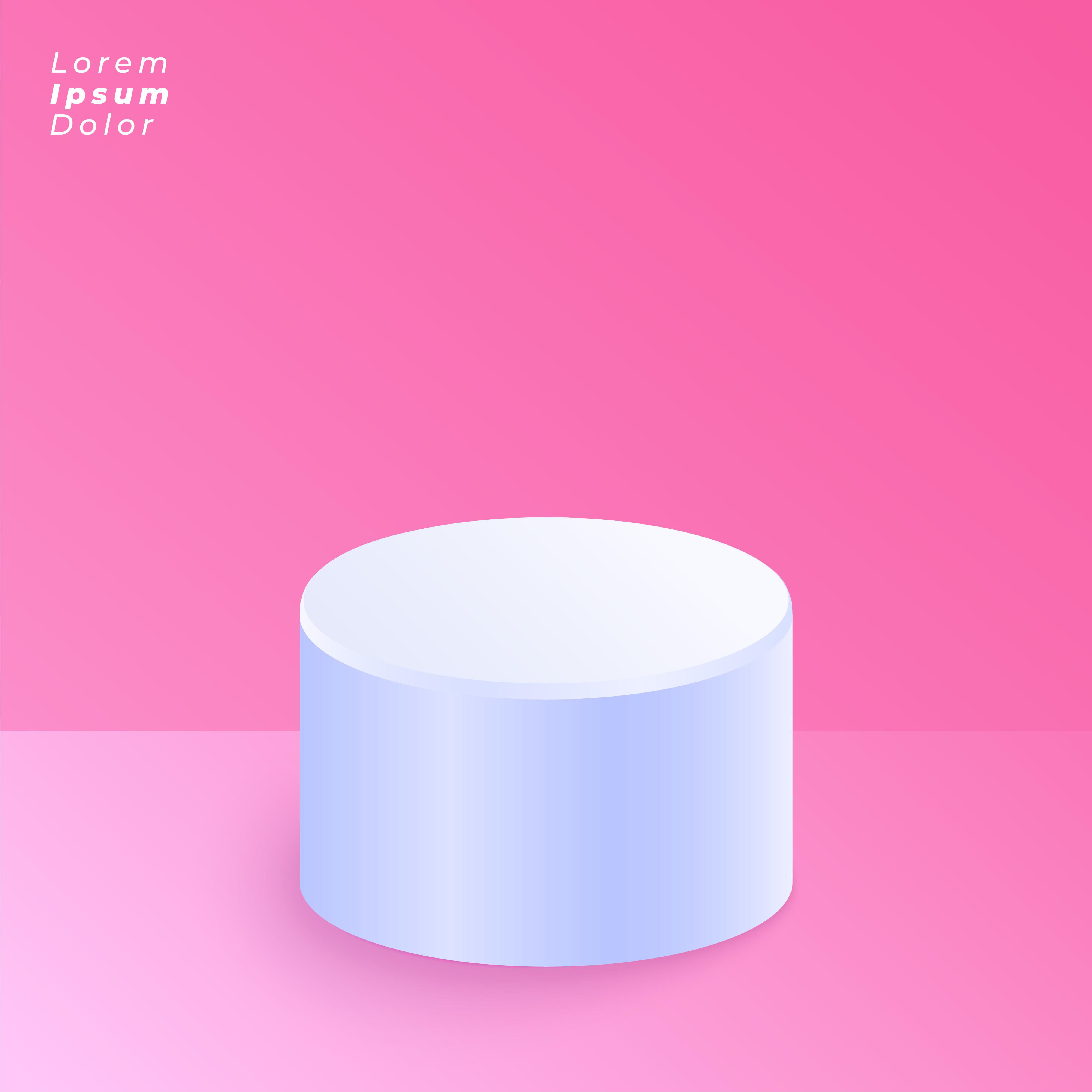 White Studio Background With Podium: Empty Studio Background With Round Podium
