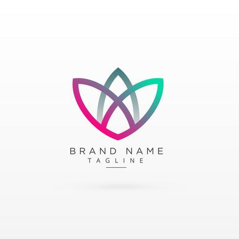 design de conceito de logotipo de marca de estilo de folha colorido moderno