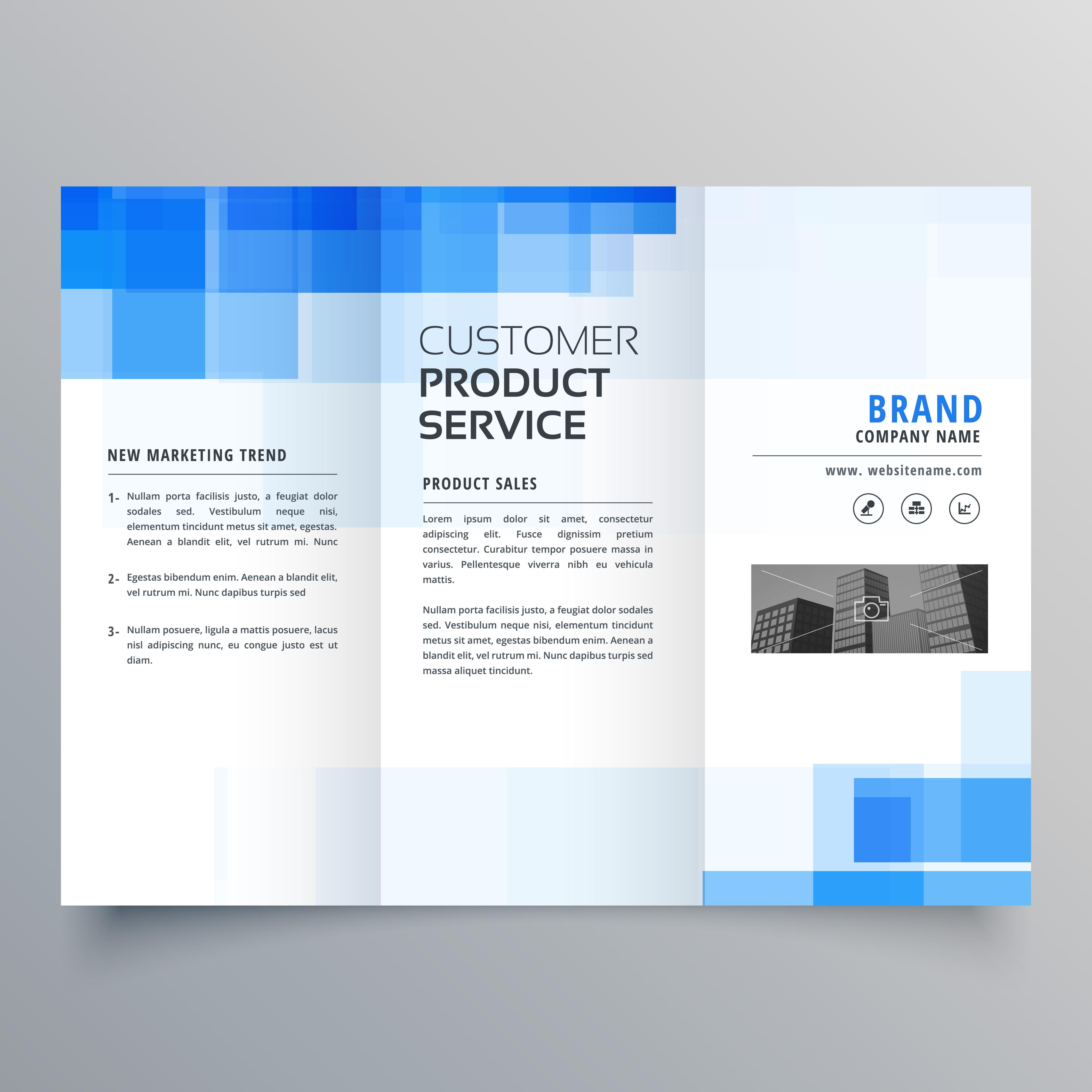 Blue Geometric Trifold Business Brochure Design Template: Blue Square Geometric Trifold Brochure Design Template