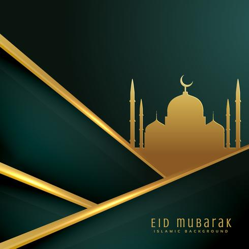 elegant eid festival greeting card design with mosque silhouette
