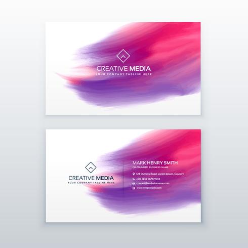 creative business card with watercolor effect