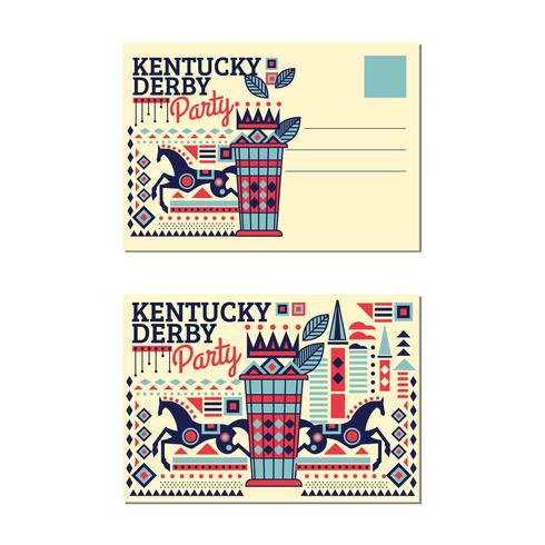 Postcard Kentucky Derby with Mint Julep with Flat Style