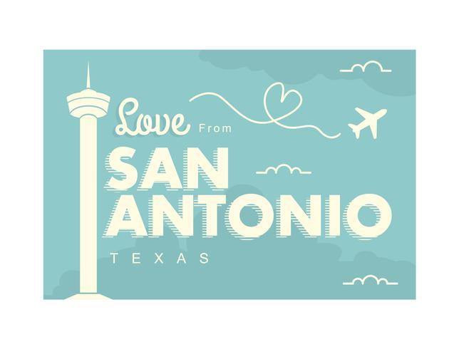 San Antonio Postcard Illustration