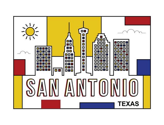 San Antonio briefkaart illustratie