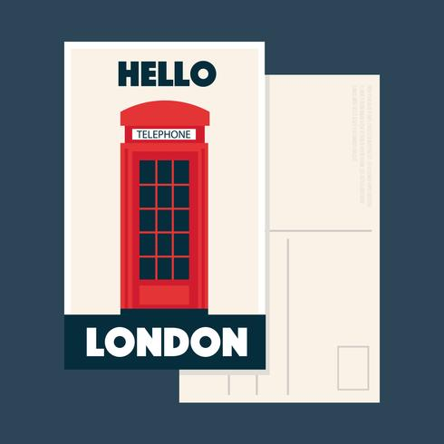 Hello London Postcard Vector