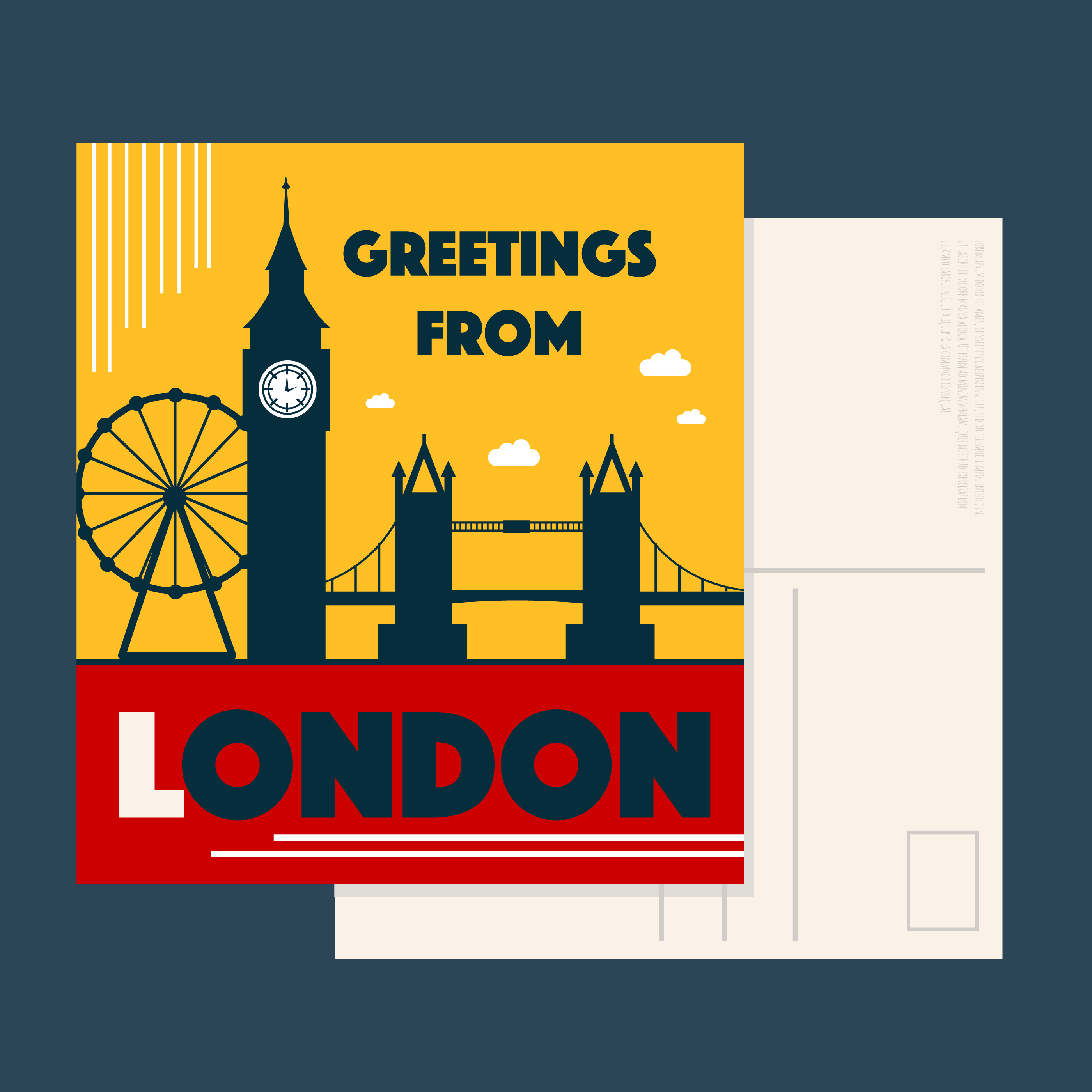 London Postcard Vector - Download Free Vectors, Clipart ...
