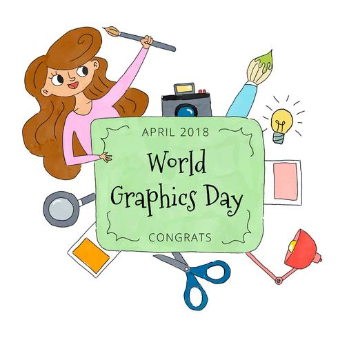 World Graphics Day Background With Design Elements