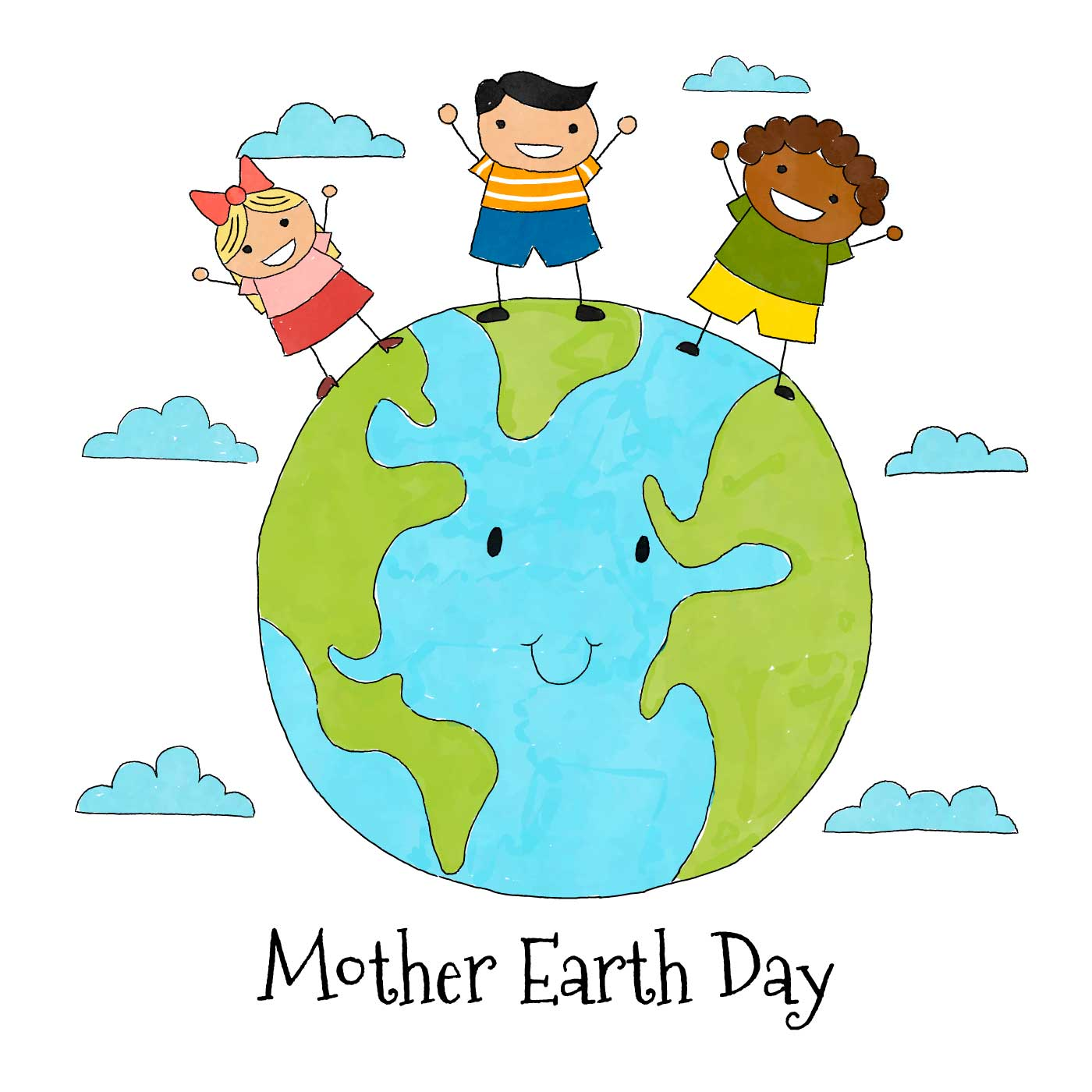 Cute Earth With Three Kids And Clouds Around - Download ...