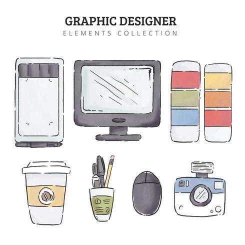 Elementos de Design gráfico em aquarela