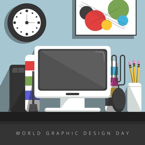 Flat Graphic Designer Desktop
