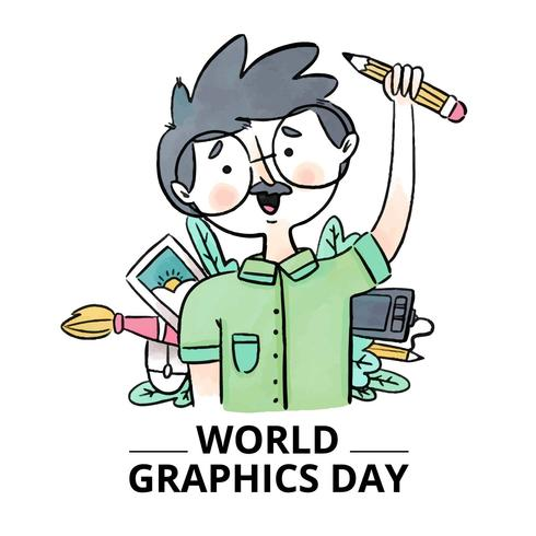 Cute Graphic Designer With Elements Around To World Graphics Day