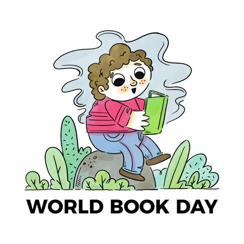 Cute Little Boy Over Rock And Leaves Reading A Book