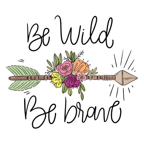 Boho Arrow With Leaves, Flowers And Lettering