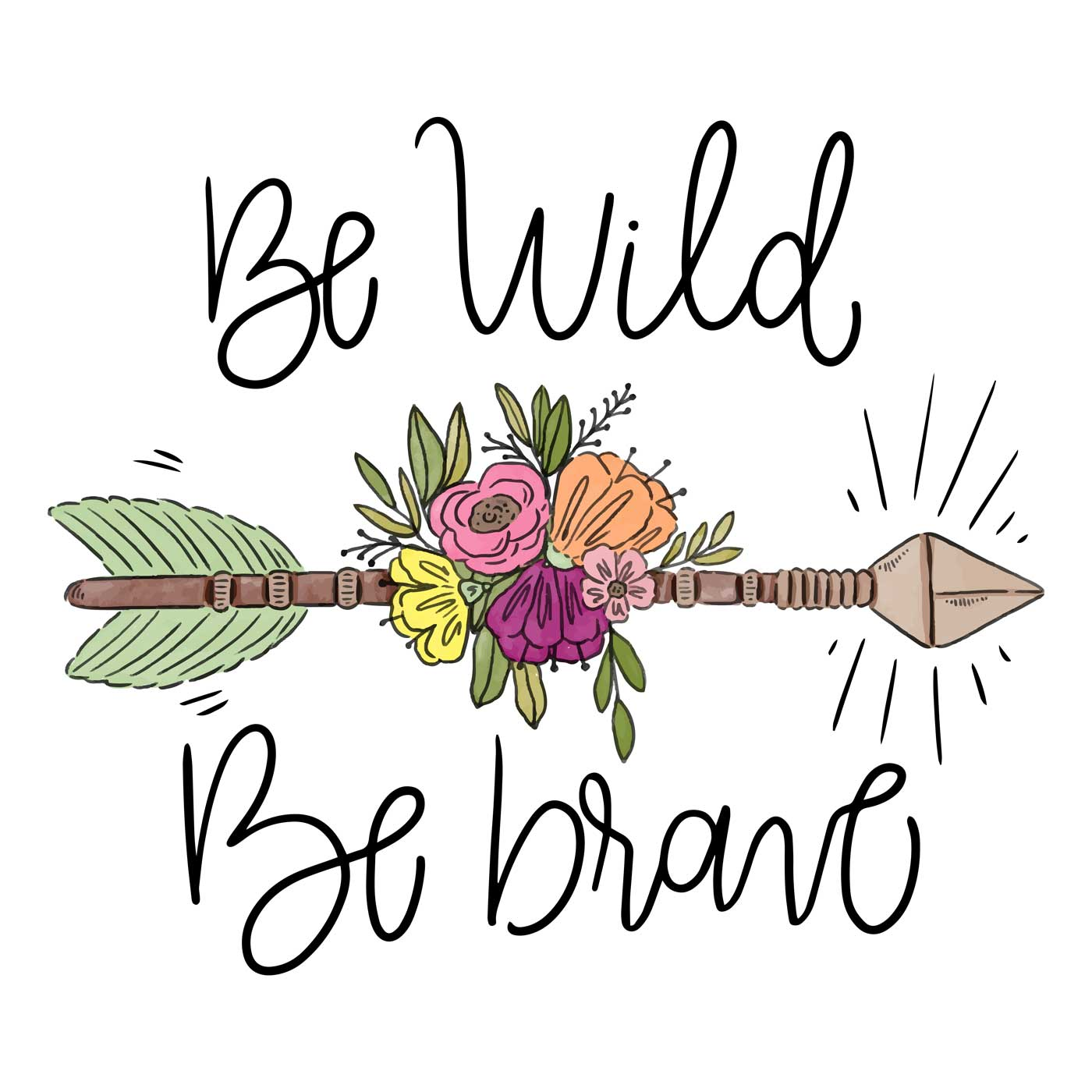 Boho Arrow With Leaves, Flowers And Lettering - Download ...