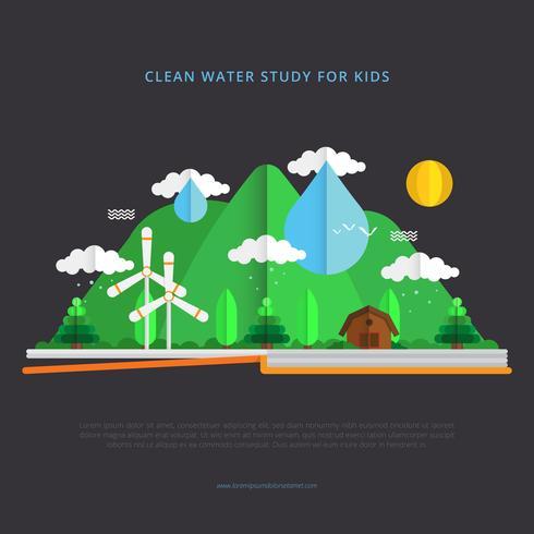 Ilustración de defensa del agua limpia con estilo de Papercraft
