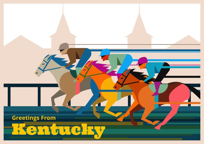 Illustrazione di cartolina di Kentucky Derby vettore