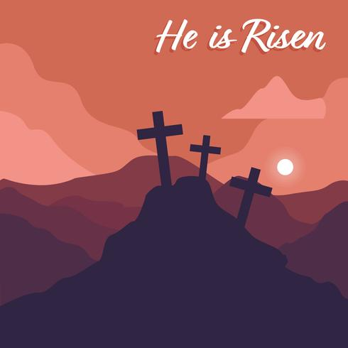 Calvary Landscape, He is Risen