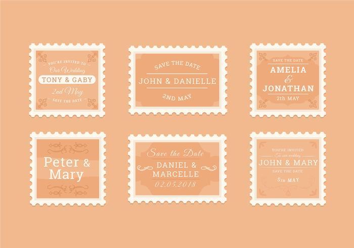 Colección de sellos de boda vintage vector