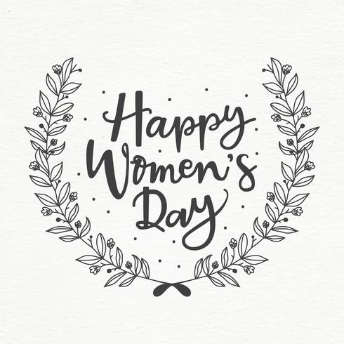 Happy Women's Day Wreath Vector