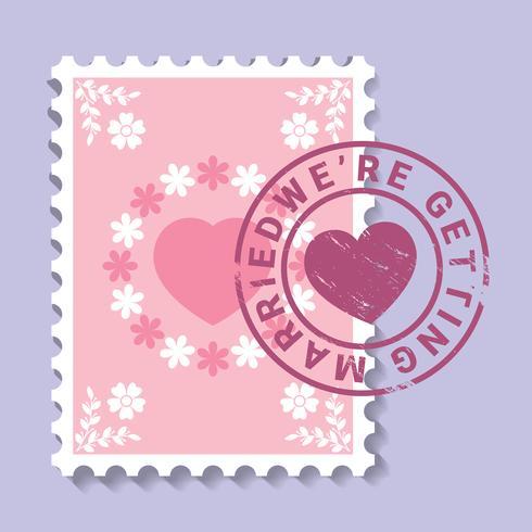 Invitation de mariage de timbre