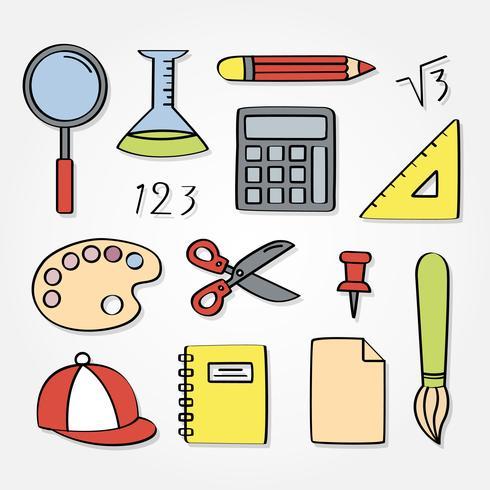 Elementos de la escuela dibujados a mano