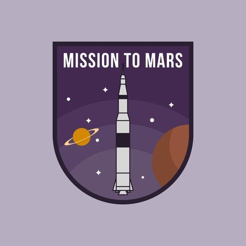 Flache Mission zum Mars-Flecken-Vektor