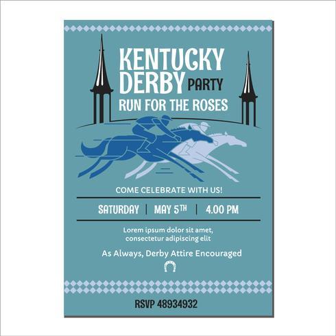 Jinete en un caballo de pura sangre se ejecuta en Kentucky Derby Party Invitation Template