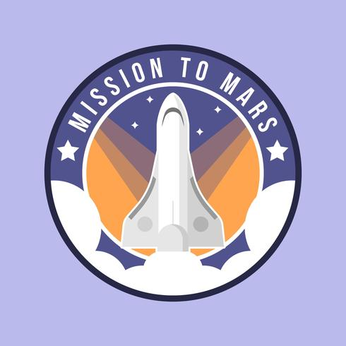 Flat Mission till Mars Patch Vector