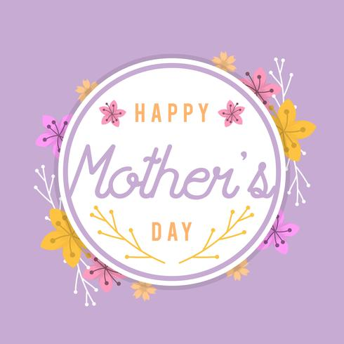 Plano, feliz, madres, día, tarjeta, vector