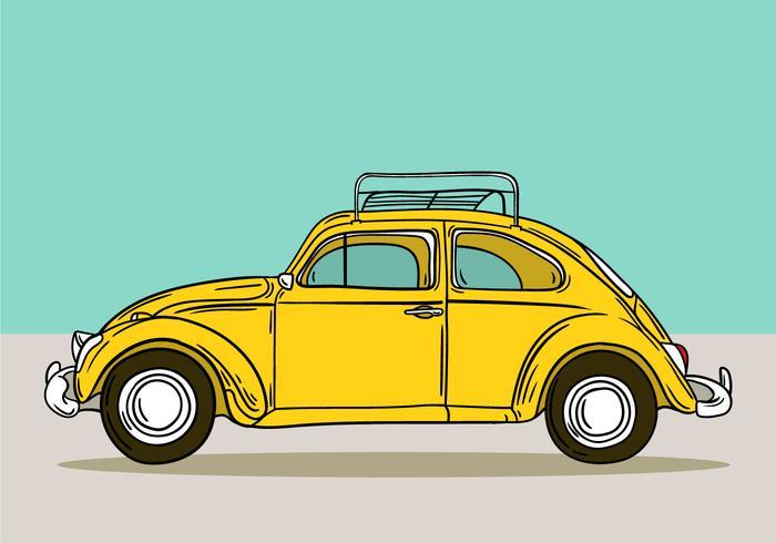gele retro volkswagen kever