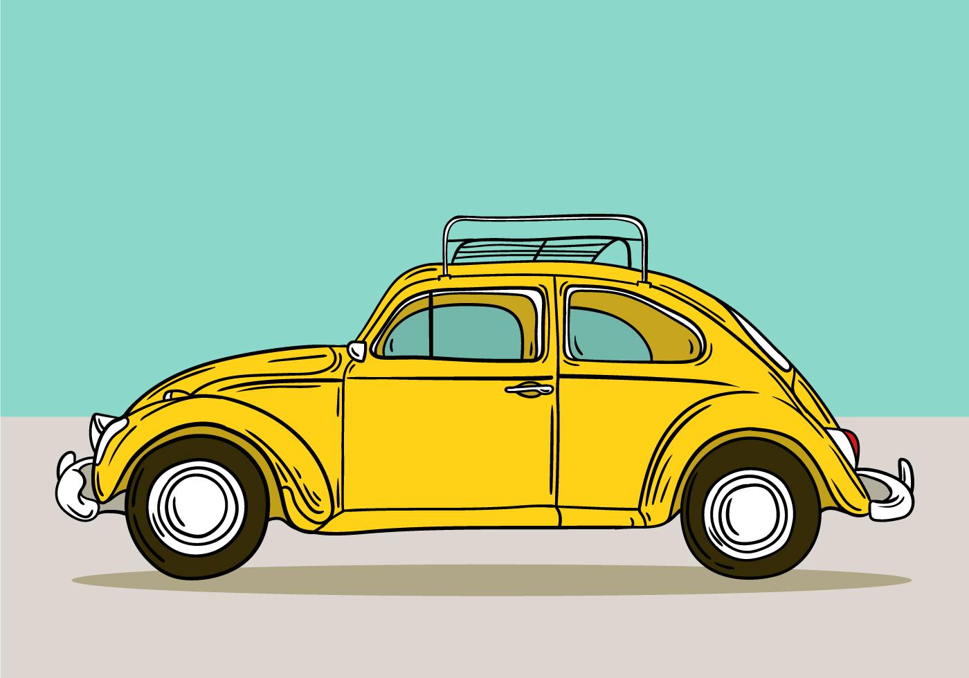 yellow retro volkswagen beetle - Download Free Vectors ...