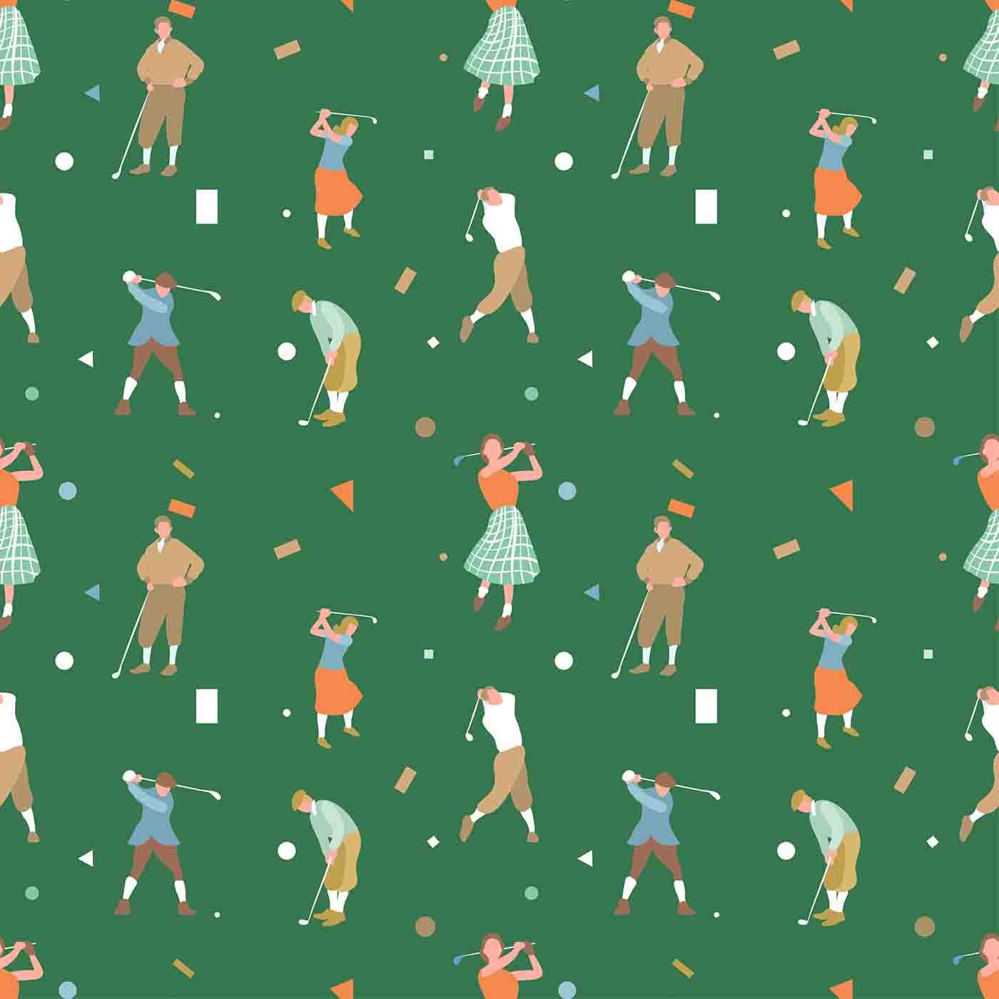 Vintage Ribbon Banners:  Vintage Golf Seamless Pattern Vector