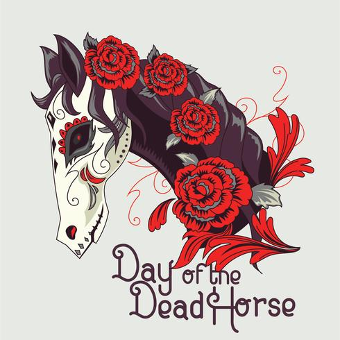 Side view of Horse Face illustration with sugar Skull Style and White and Black Color