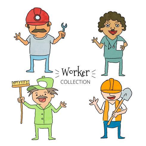 Collection de jeu de travailleurs mignons