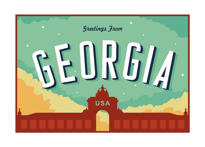 Augusta Georgia Postcard Illustration