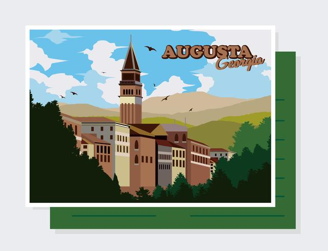 augusta, georgië, briefkaart, vector