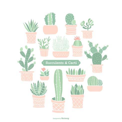 Doodle colorido em vasos de plantas suculentas e vetor de cactos
