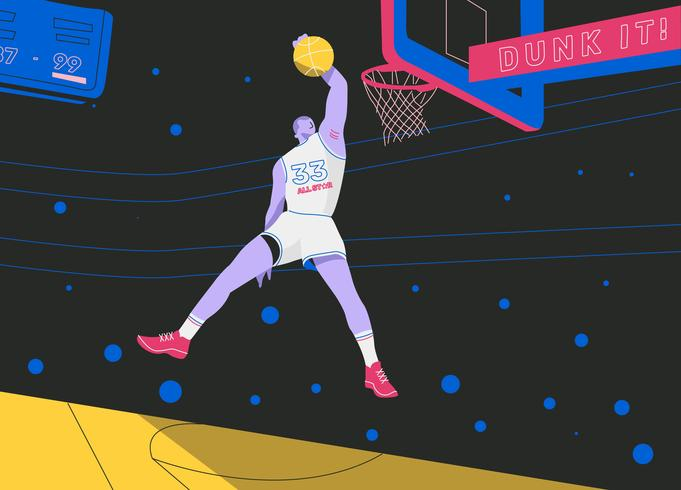 Knall taucht Basketball-Spieler-All-Star- Vektor-flache Illustration ein